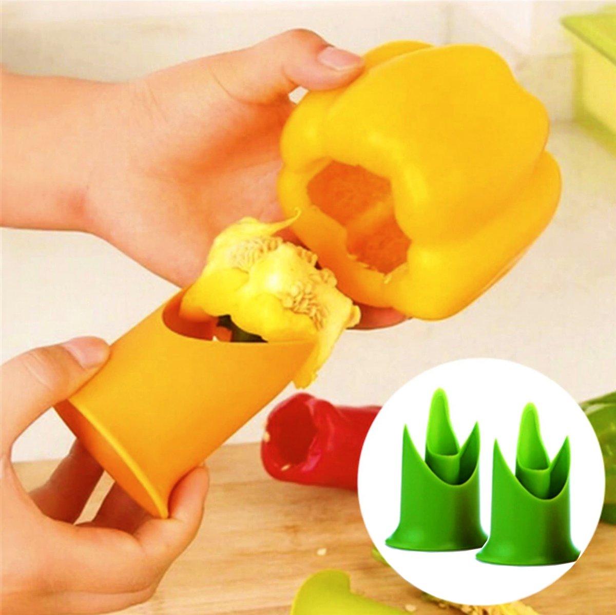 Paprika ontpitter van Recette Parfait - Makkelijk gevulde paprika maken - Groen - Paprika Tool - Puntpaprika - Remove pepper seeds - Keukenaccessoires - Paprika zaadjes - Groenten - Biologische paprika ontpitten kopen