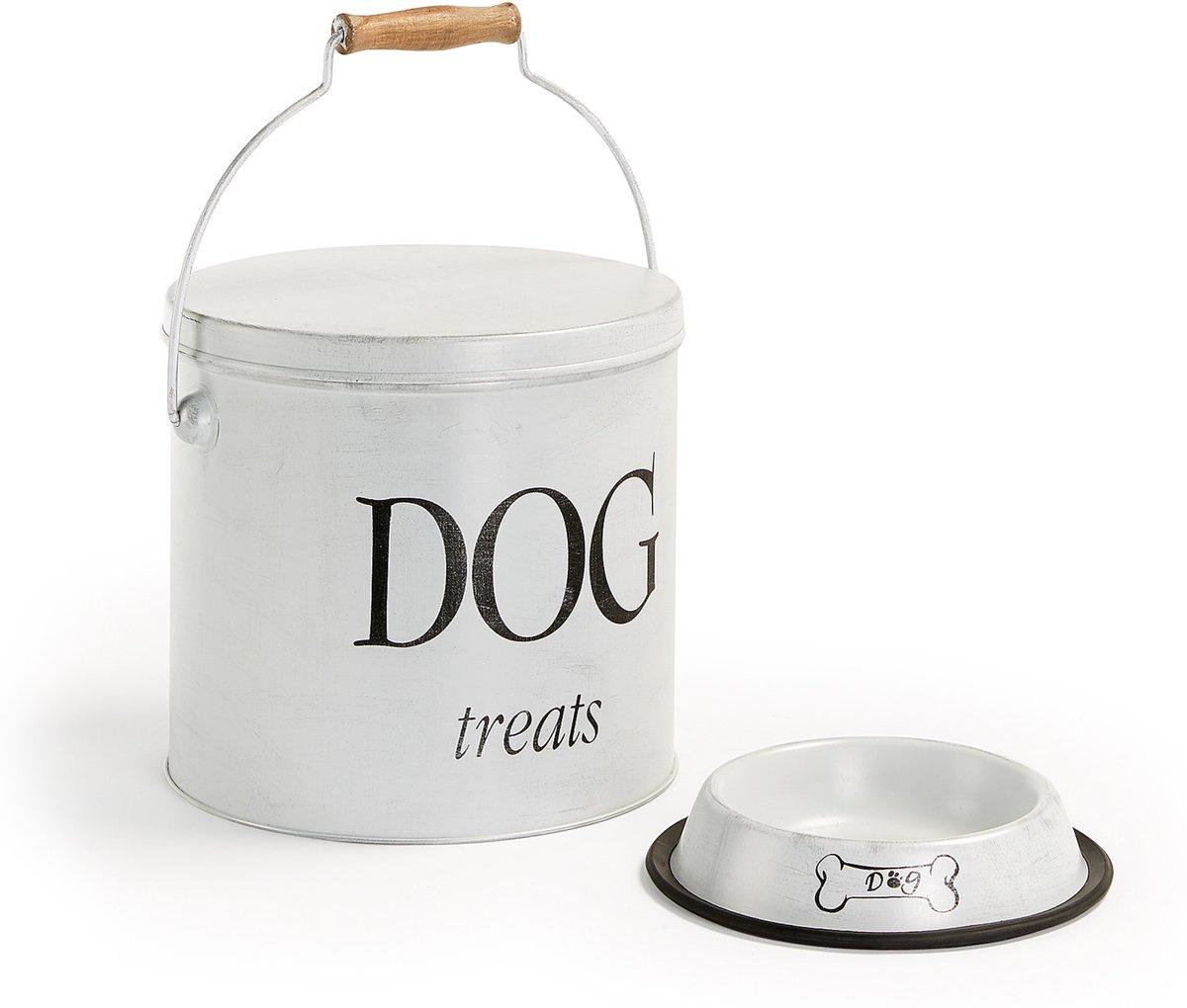 Kave Home DOT Voerbak plus ton voor de hond - Wit Bak - Metaal kopen