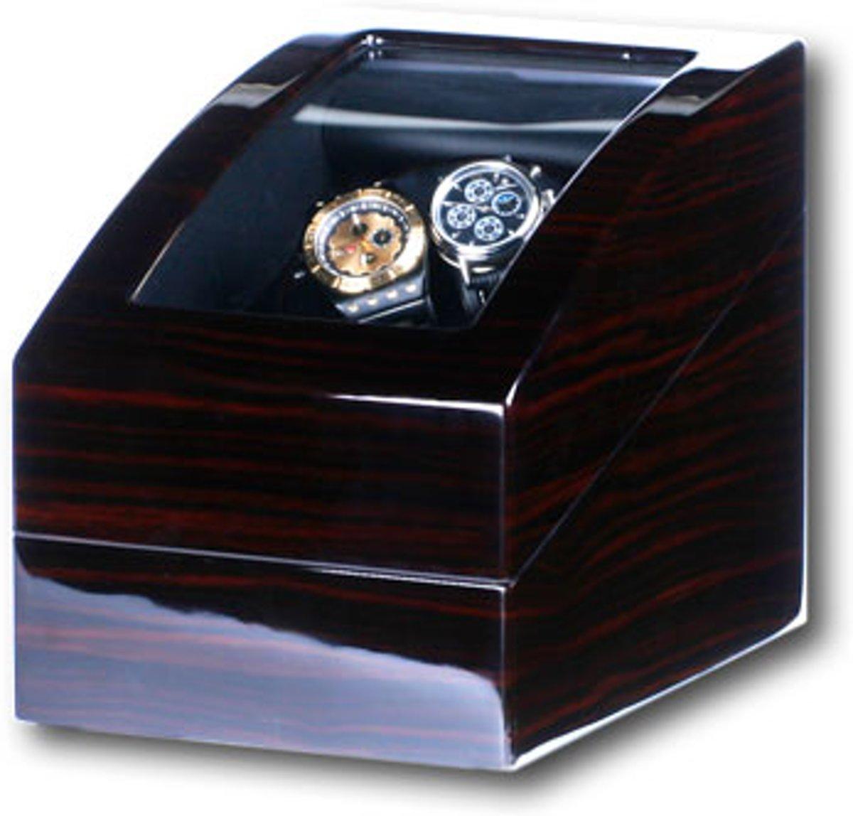 Chique watchwinder in donkerhout kleur voor 2 automaten en ruimte voor 3 andere horloges, horlogeopwinder 101061e kopen