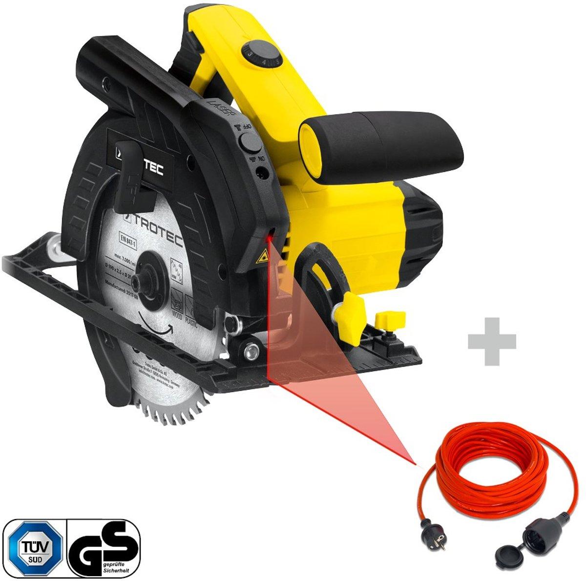 Trotec handcirkelzaag PCSS 10-1400 & kwaliteits verlengsnoer 15 m / 230 V / 1,5 mm²