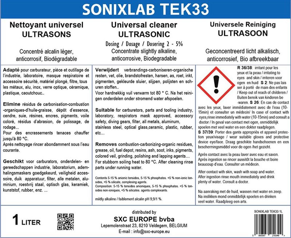 Sonixlab TEK33 universele ultrasoon vloeistof (carburator) - 1 liter kopen