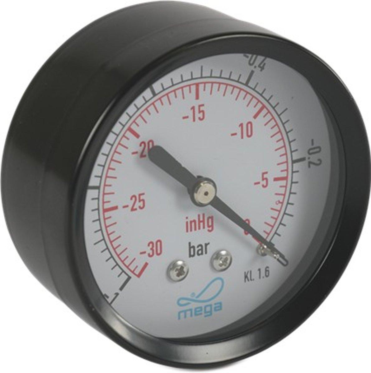 Manometer 63 mm buitendraad 0 - 2,5bar zwart type droog