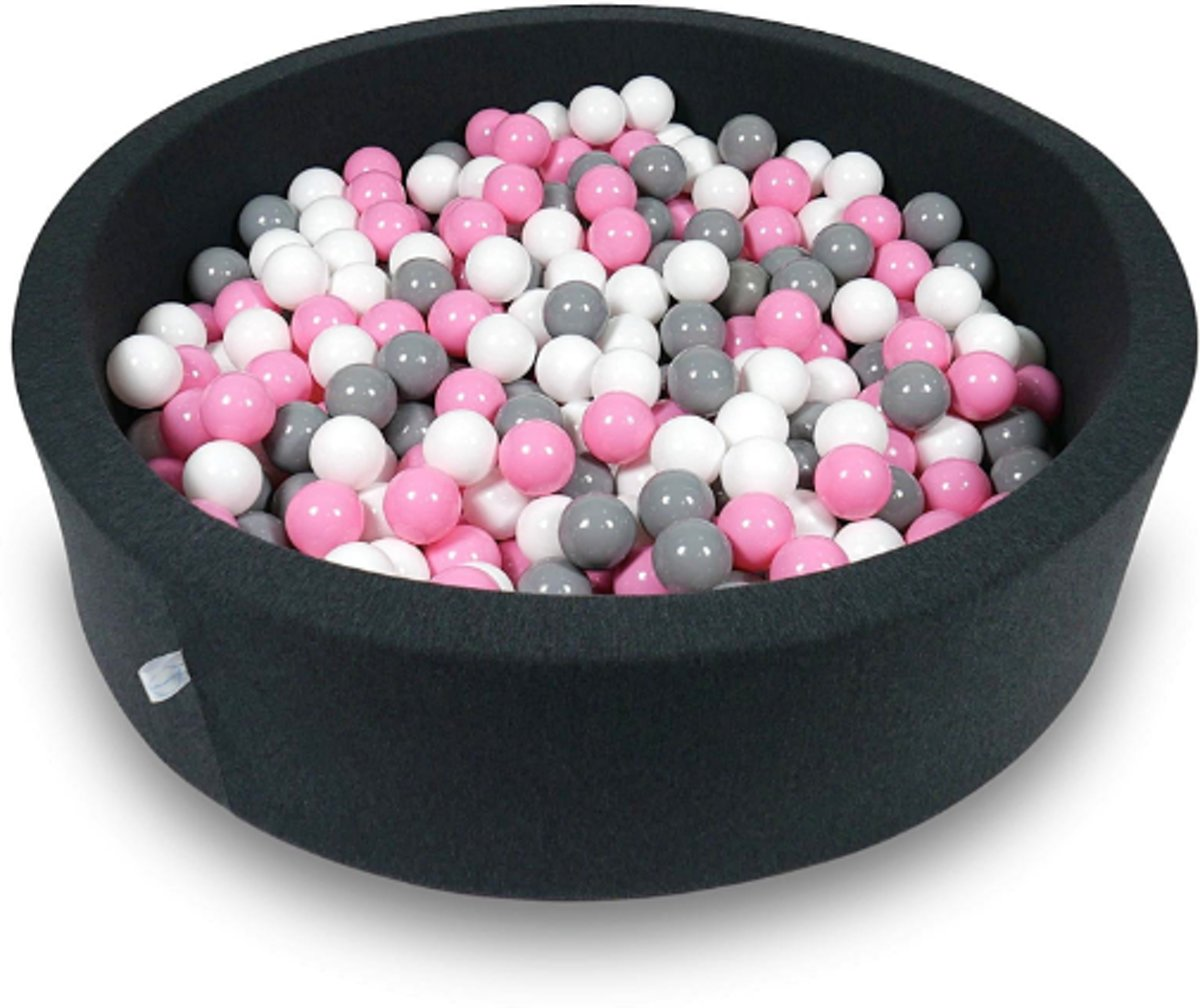 Ballenbak - 400 ballen - 115 x 30 cm - ballenbad - rond zwart