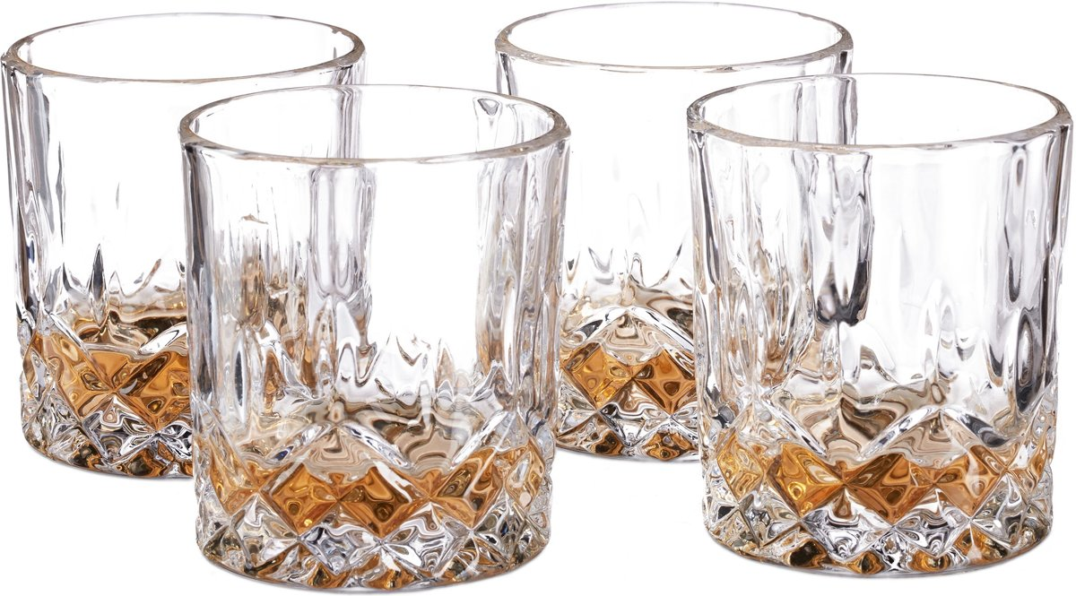 relaxdays Whiskyglazen set 4 stuks whiskeyglazen kristalglas 250 ml whiskyglas kopen