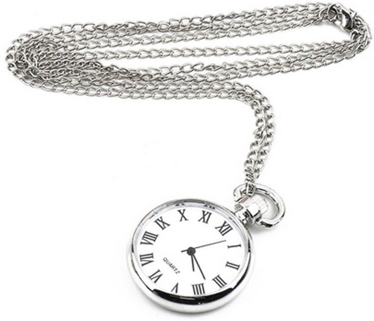 Treasure Trove® Klassiek Horloge Lange Ketting Vrouwen - Dameshorloge - Zilverkleurig - 80cm kopen