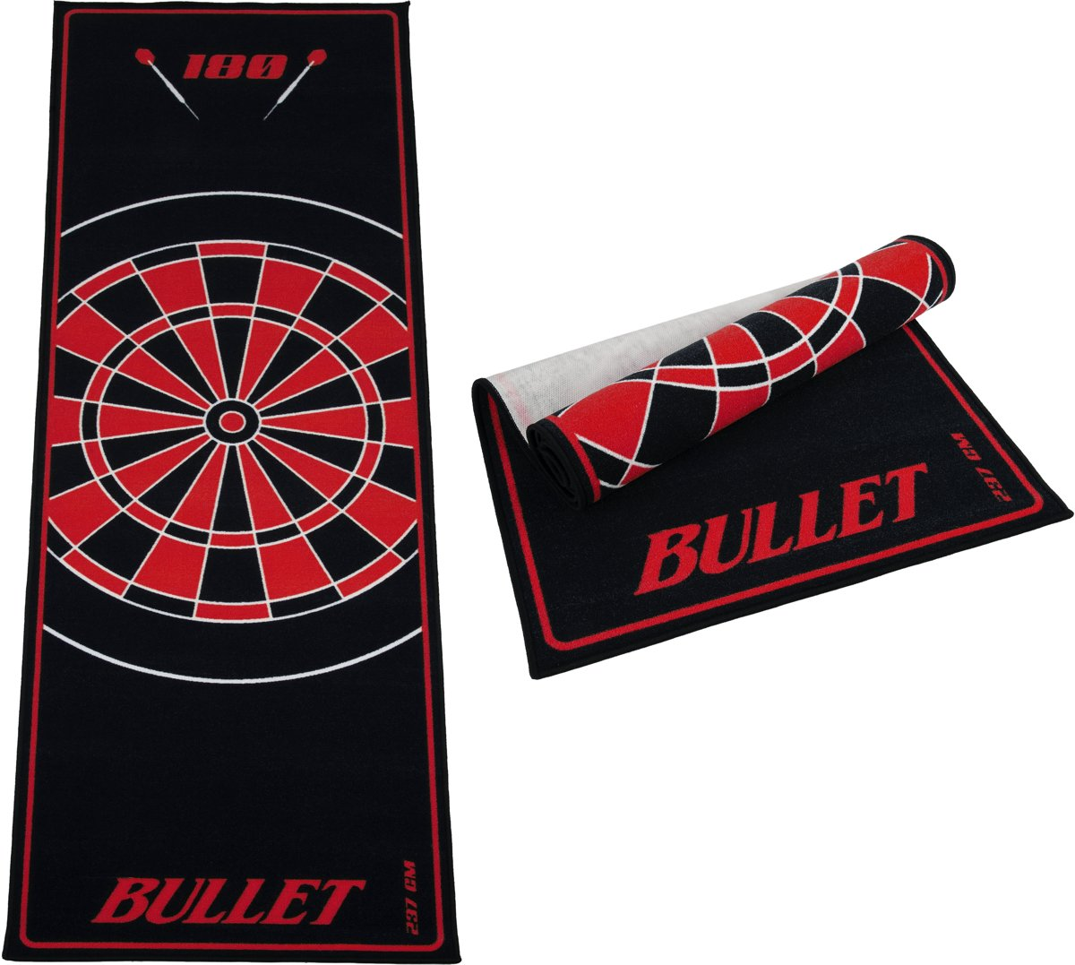 Dartmat - Bullet Rood 237x80 cm - gave mat – Dartvloerkleed kopen