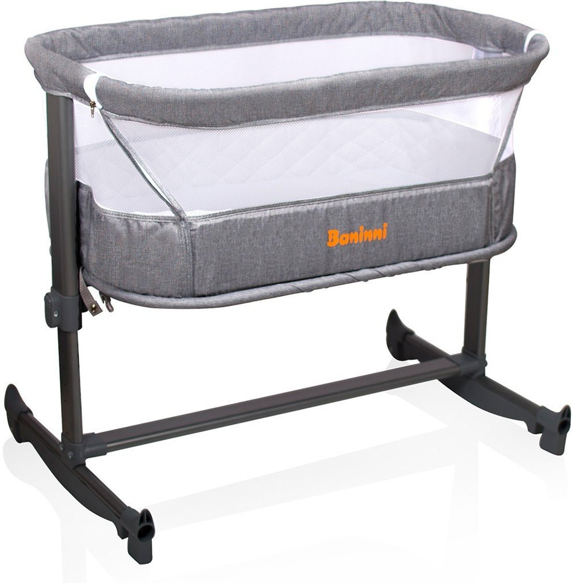 Baninni Co-sleeper Wieg Aan Bed Nesso Dark Gray