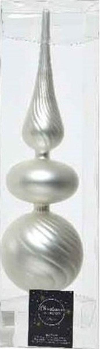 Zilveren glazen swirl kerstboom piek mat 32 cm - Glas - Kerstboomversieringen zilver kopen
