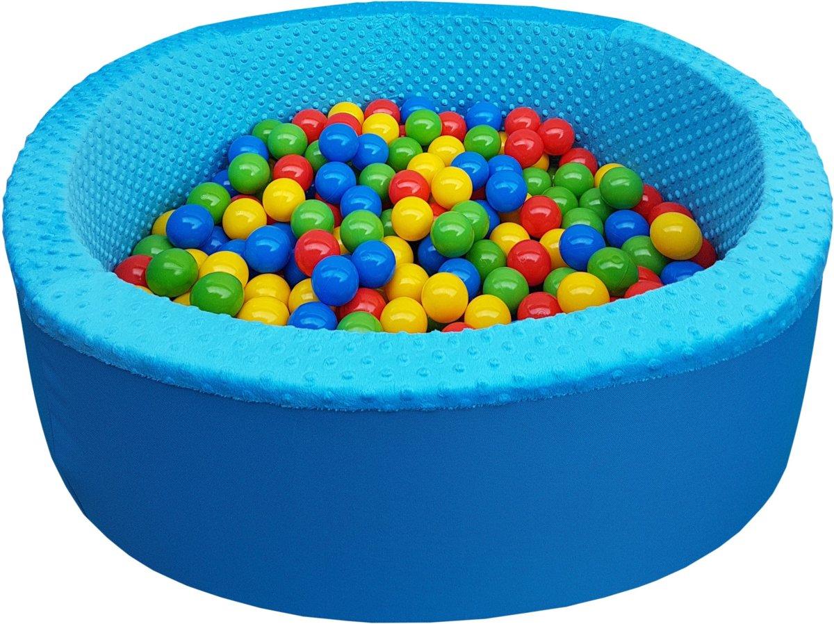 Blauwe Ballenbad - stevige ballenbak - 90 x 40 cm - 300 ballen - rood blauw geel groen