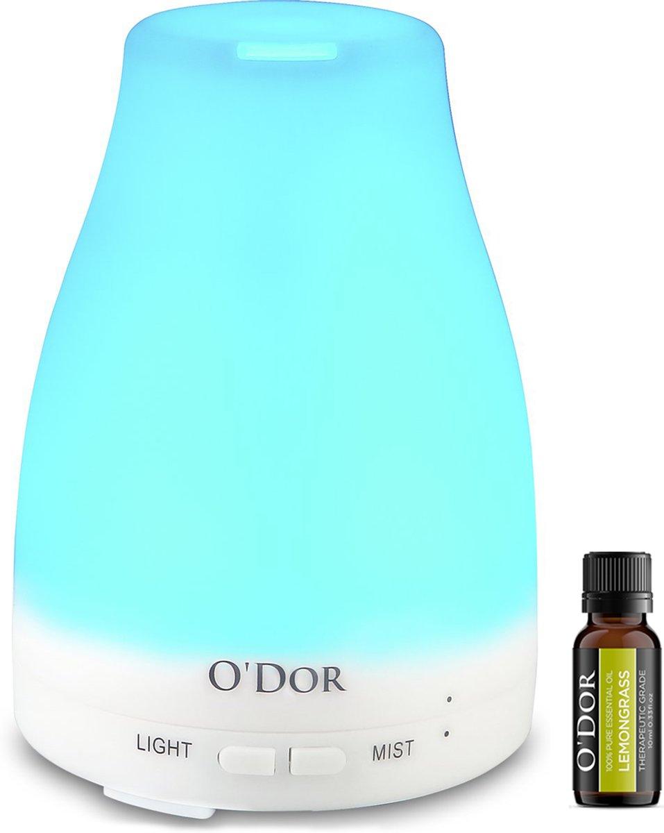 O'dor® Aroma Diffuser 100ml met EXTRA Lemongrass Olie Etherische Olie Verdamper Vernevelaar en Luchtbevochtiger met sfeervolle LED verlichting