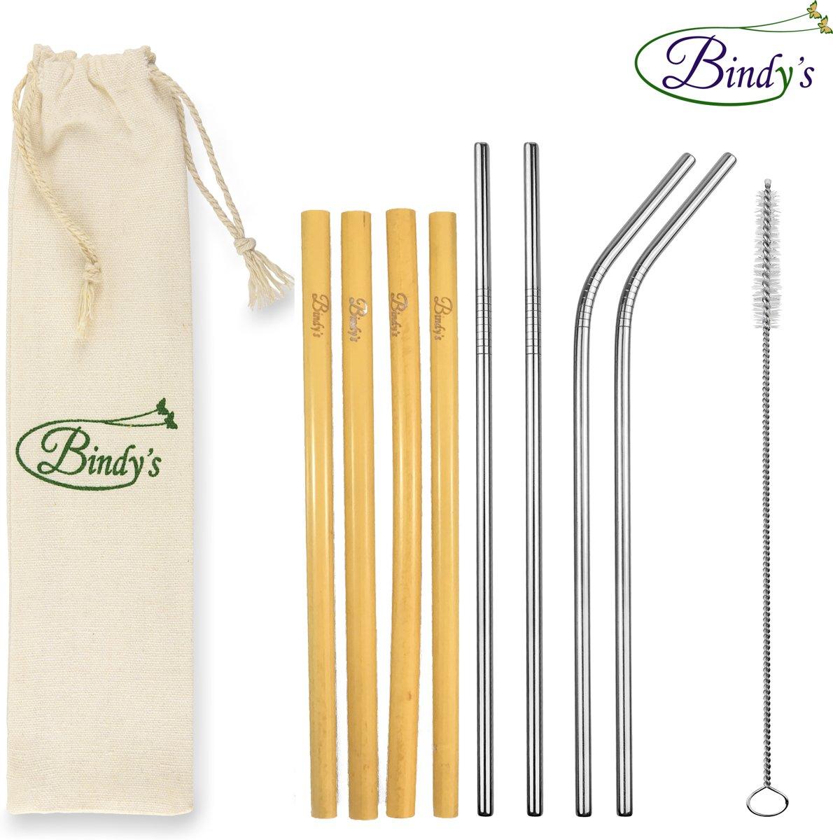 Bindy's - 10-Delige Set Herbruikbare Rietjes Mix - Duurzaam Geschenk Idee - 4 RVS Rietjes - 4 Bamboe Rietjes - Incl. Schoonmaakborsteltje En Linnen Bewaarzakje - Milieuvriendelijk en Stijlvol