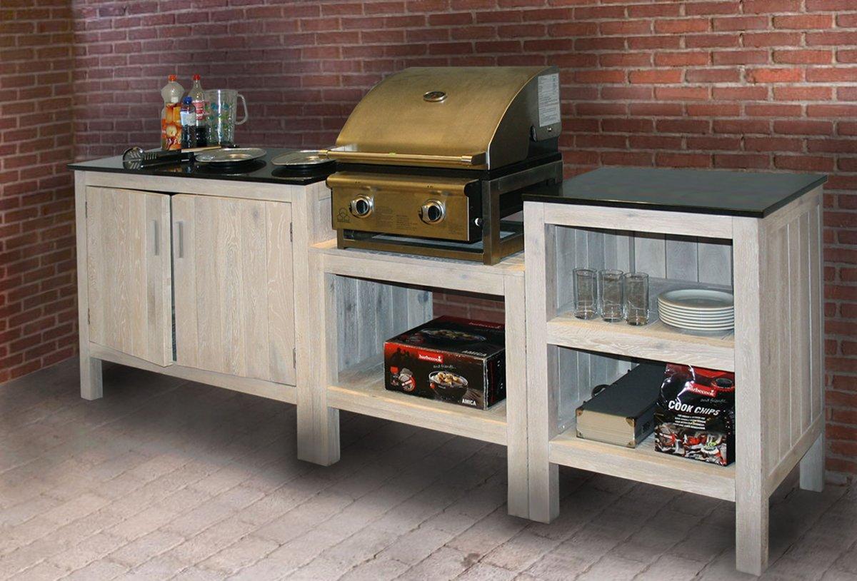 Buitenkeuken Luberon- Eikenhout - Granieten Blad - Exclusief Barbecue kopen