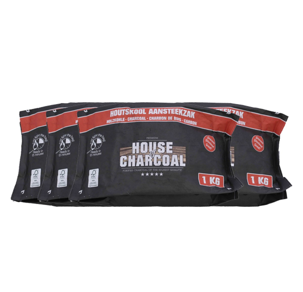 House of Charcoal Light the bag Houtskool FSC 1kg - 4 stuks kopen