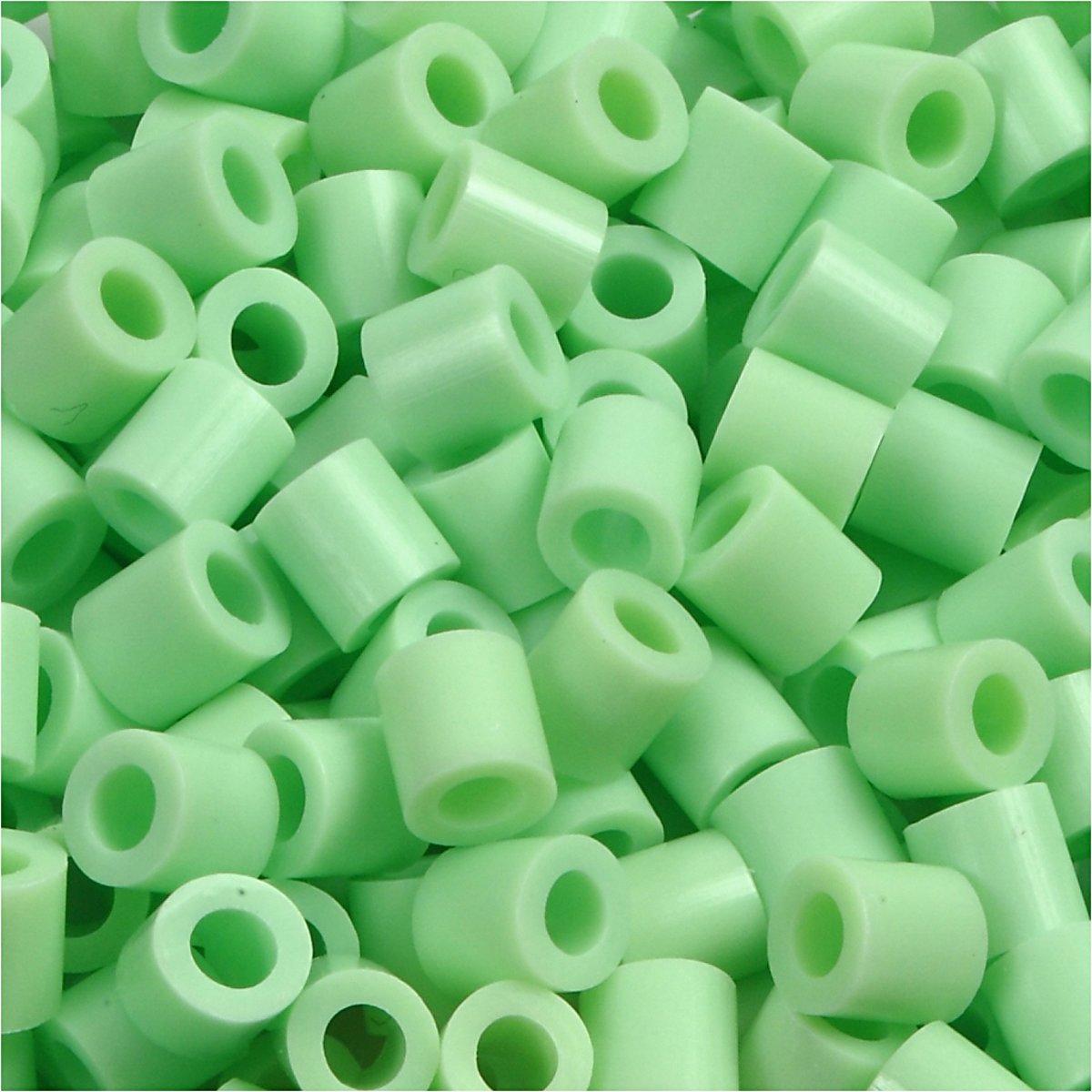 Strijkkralen, afm 5x5 mm, gatgrootte 2,5 mm, pastel groen, medium, 6000stuks