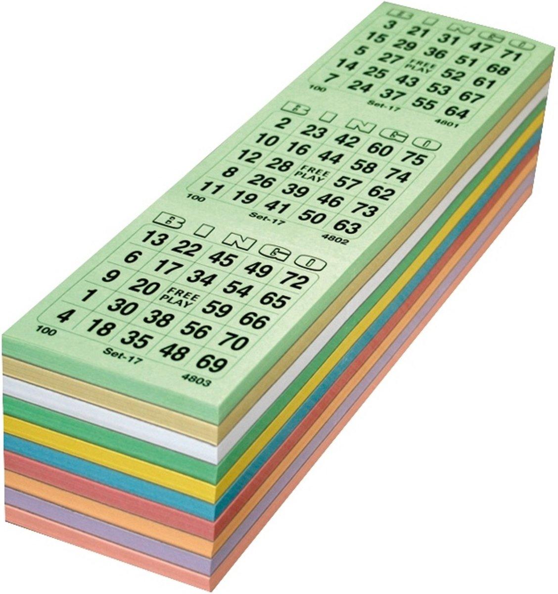 Bingokaarten 3000 stuks - 1 t/m 75 kleurenmix