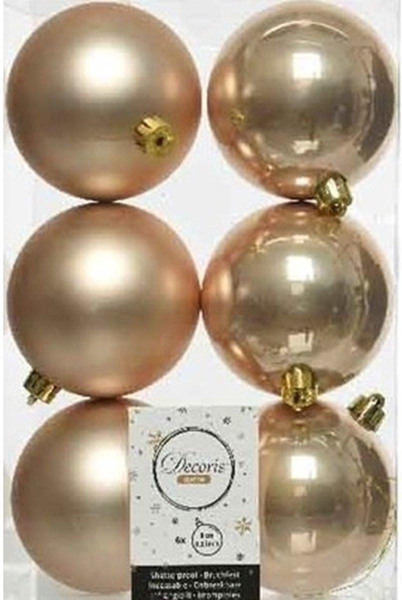 6x Donker parel/champagne kunststof kerstballen 8 cm - Mat/glans - Onbreekbare plastic kerstballen - Kerstboomversiering donker parel/champagne kopen