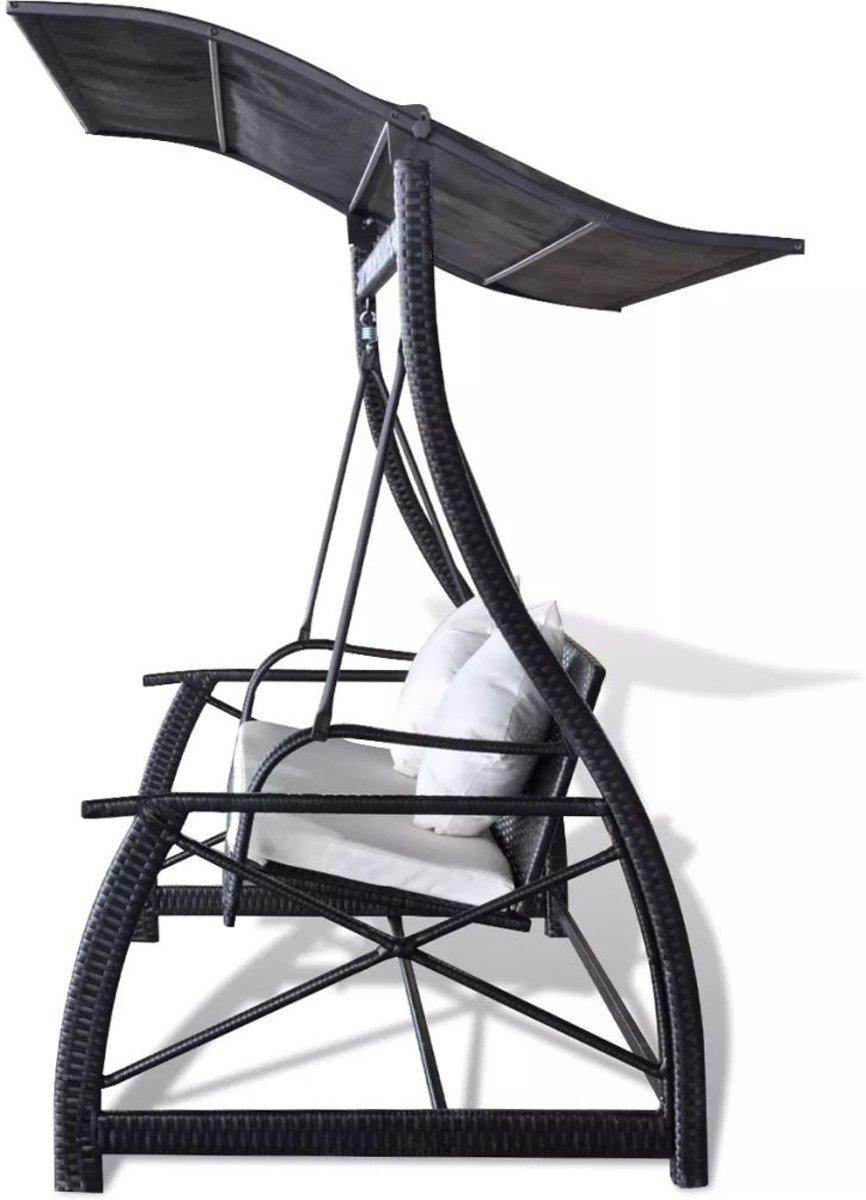 vidaXL Schommelbank voor in de tuin poly rattan zwart 167x130x178 cm kopen