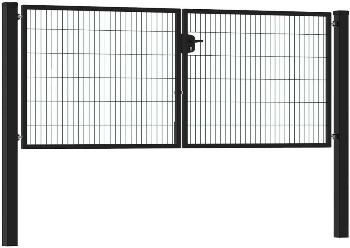 Dubbele tuinpoort 300 x 120 cm (bxh) Zwart RAL 9005 premium kopen