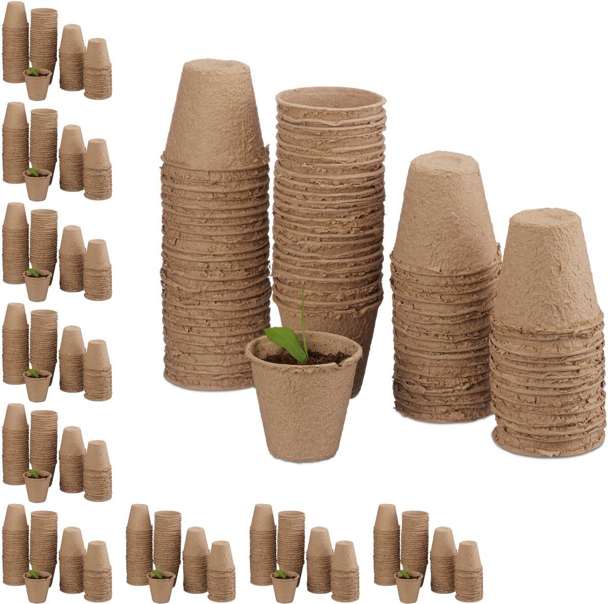 relaxdays 800 - kweekpotjes - biologisch afbreekbare stekpotjes - rond - beige
