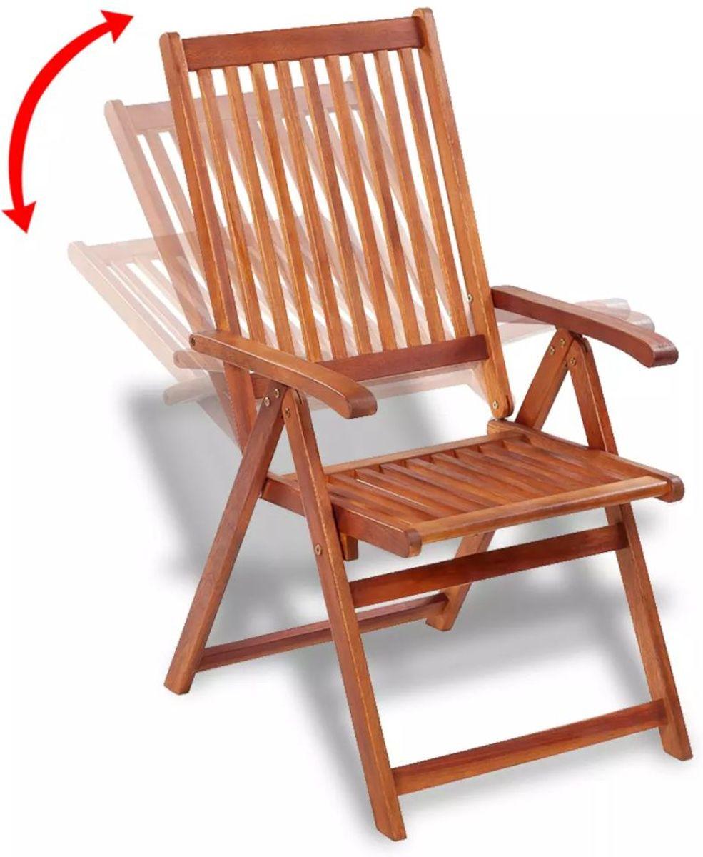 Tuinstoelen Inklapbaar Zwart met Bruin 2 STUKS Acacia Hout / Tuin stoelen / Buiten stoelen / Balkon stoelen / Relax stoelen kopen