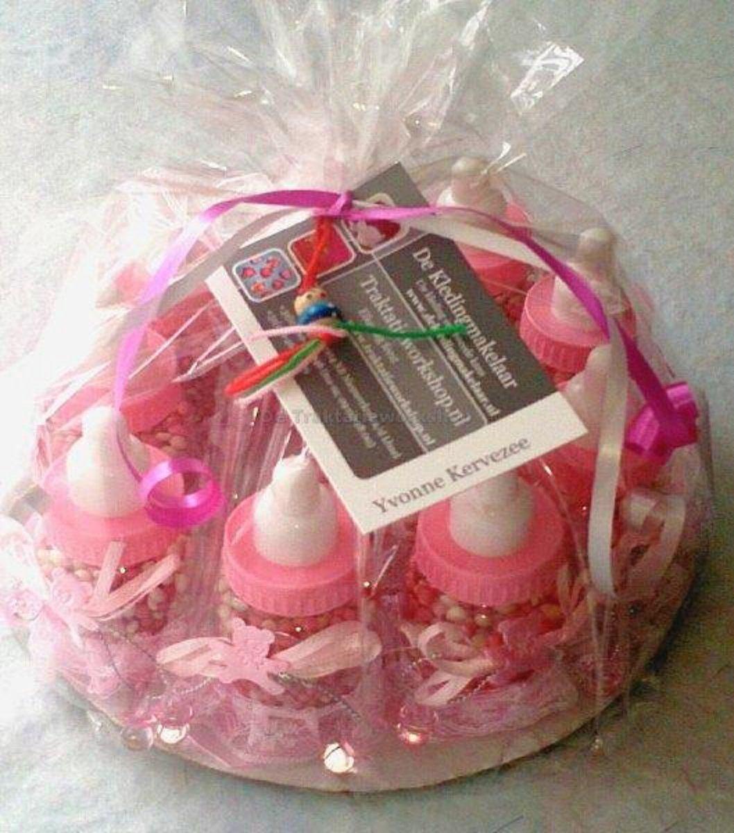 Geboortebedankjes papfles (10 stuks gevuld met geboortehartjes)