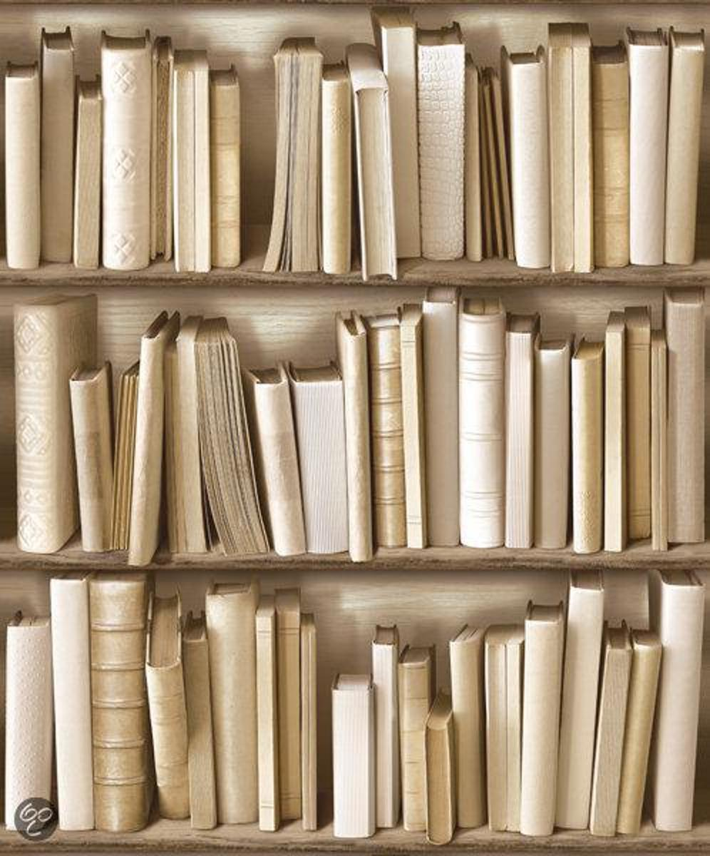 bol.com | Dutch Wallcoverings Vliesbehang - boekenkast - beige