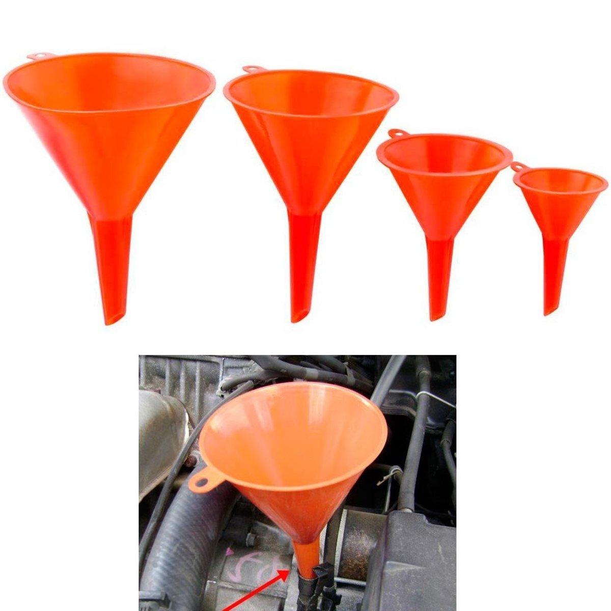 Premium Plastic Trechter Set – 4 Stuks – Ø 115/95/73/50mm | Voor Snelle en Schone Overdracht van Vloeistoffen, Olie, Water en Droge Stoffen en Poeders  | Voor Gebruik in Auto, Voertuigen, Keuken en Tuin kopen