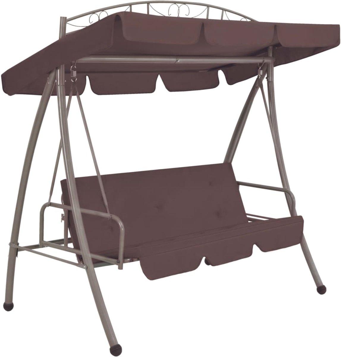 vidaXL Schommelstoel voor buiten met luifel en versiering koffiekleur kopen