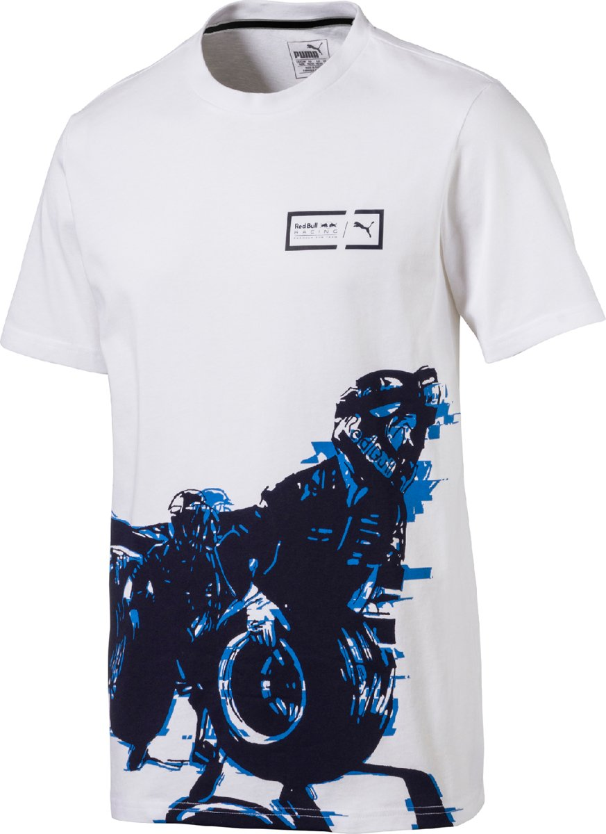 PUMA Red Bull Racing Graphic Tee Shirt Heren - White