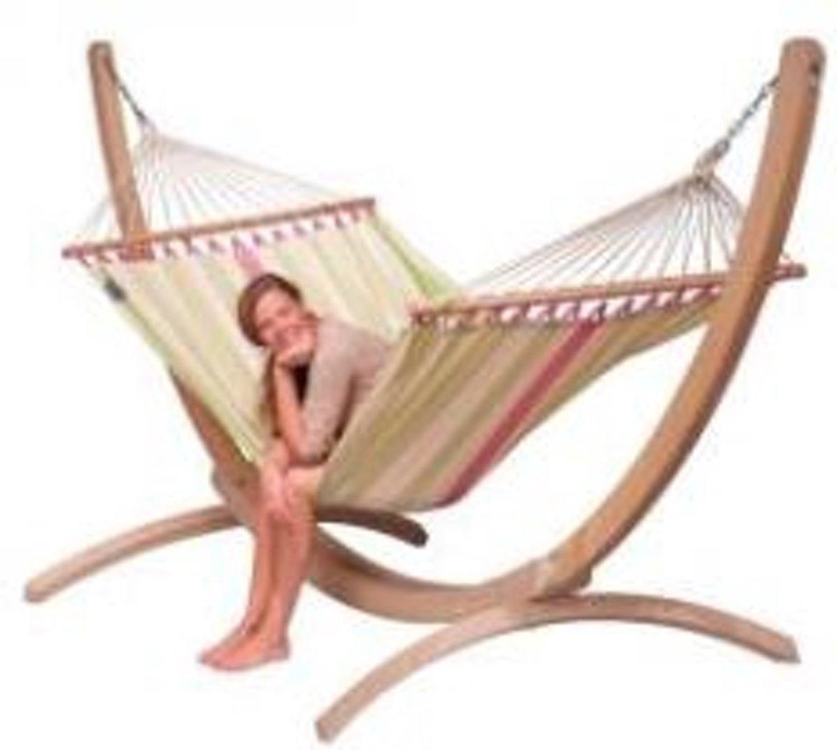Hangmatset: 2-persoons hangmat met spreidstok COLADA kiwi + Standaard voor 2-persoons hangmat  CANOA