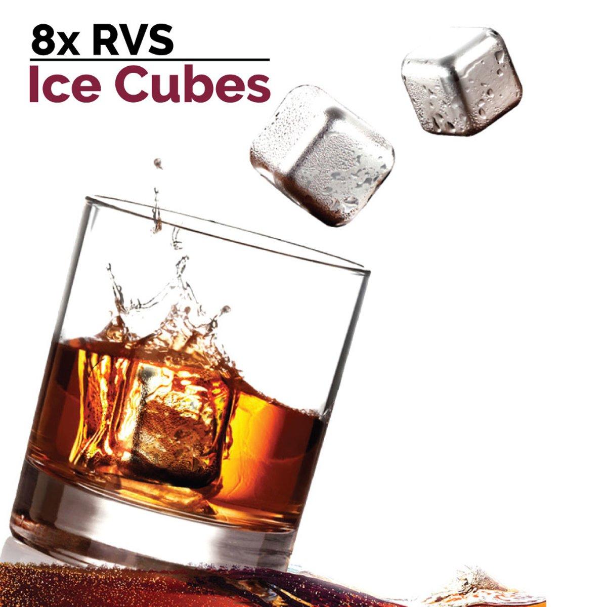 Ice Cubes ijsblokjes - RVS - Gift set van 8 Ice Cubes + Tang kopen