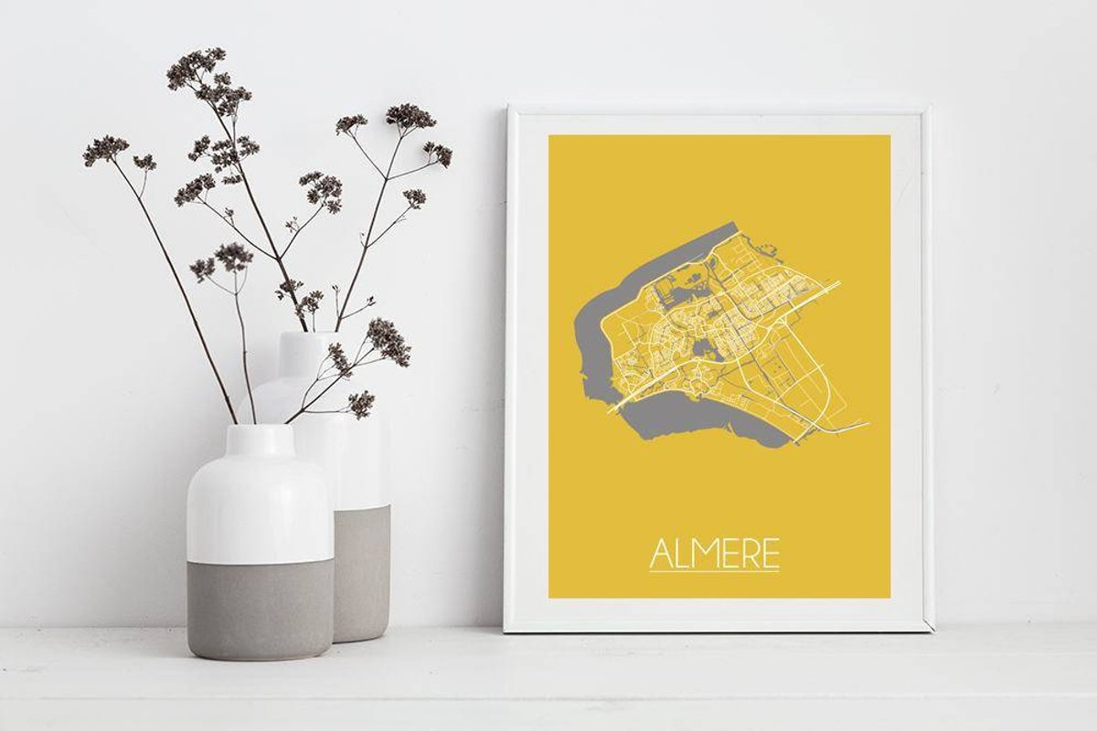 Poster Babykamer Pastel : Bol plattegrond almere stadskaart poster designclaud geel