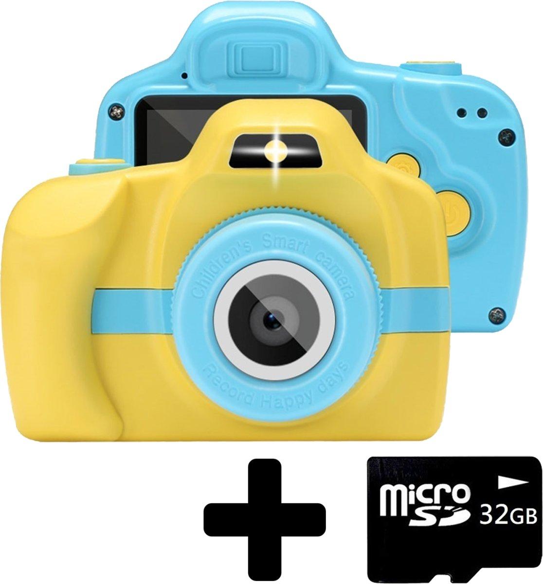 Kindercamera Camera Voor Kinderen Video + 32GB SD kaart - Geel/Blauw