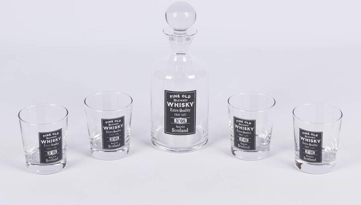 Maxx Whisky set - Karaf en 4 Glazen - 5 delig kopen
