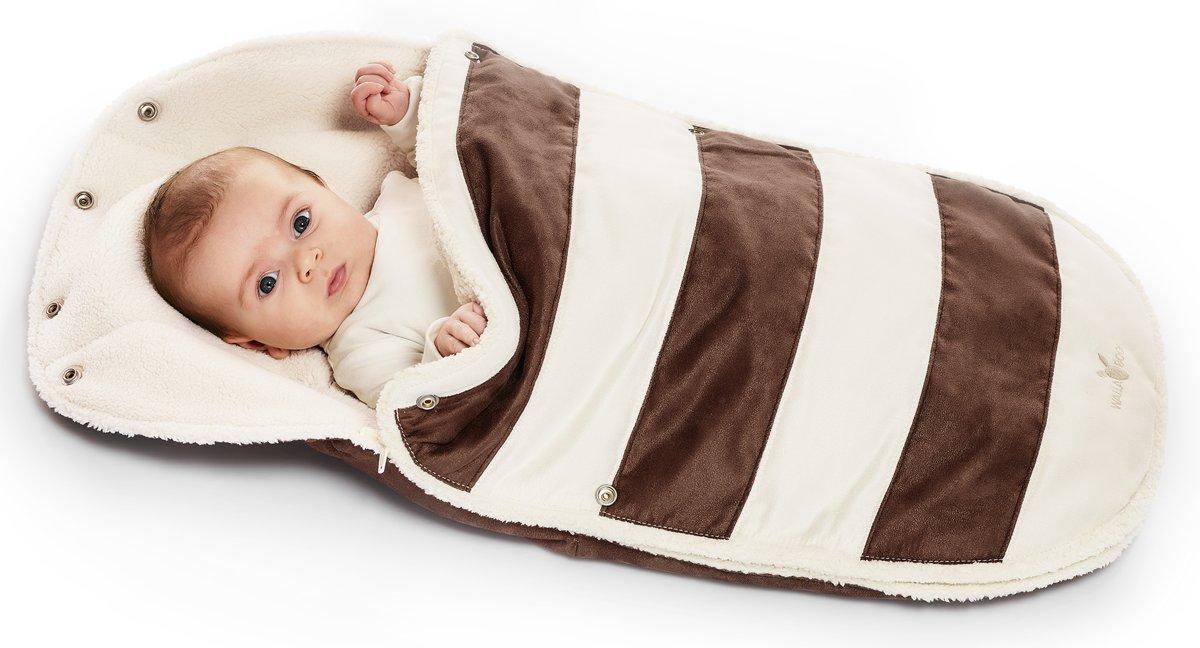 Wallaboo voetenzak - geschikt voor elke autostoel - voor 0 tot 12 maanden - Zacht imitatie suède en bont - Met capuchon en afritsbare bovenkant - Kleur: Bruin gestreept kopen