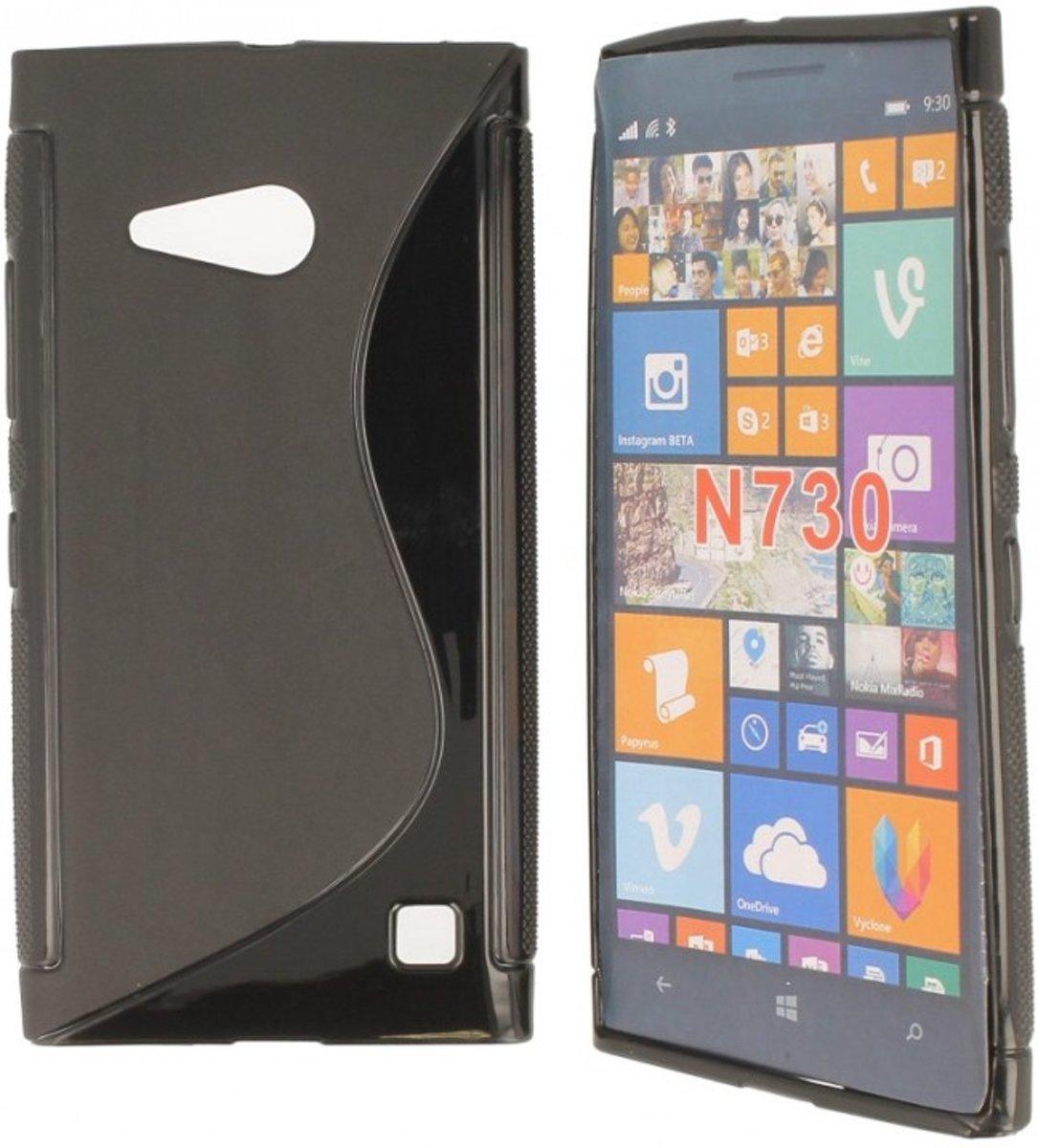 Image of Nokia Lumia 730 Dual Sim Silicon Hoesje - S-Line Black (8719321207457)