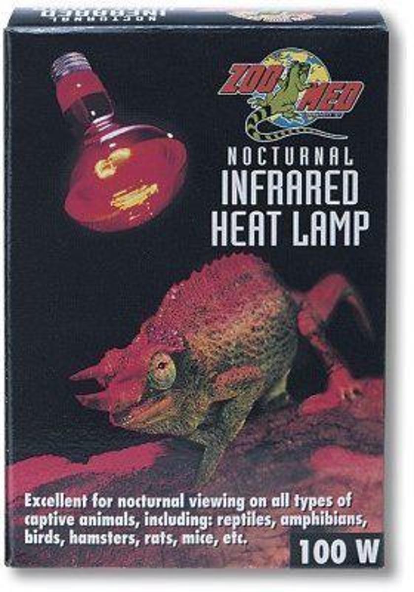 Zoomed terrarium verlichting Nocturnal red infrared heat lamp 100 w.
