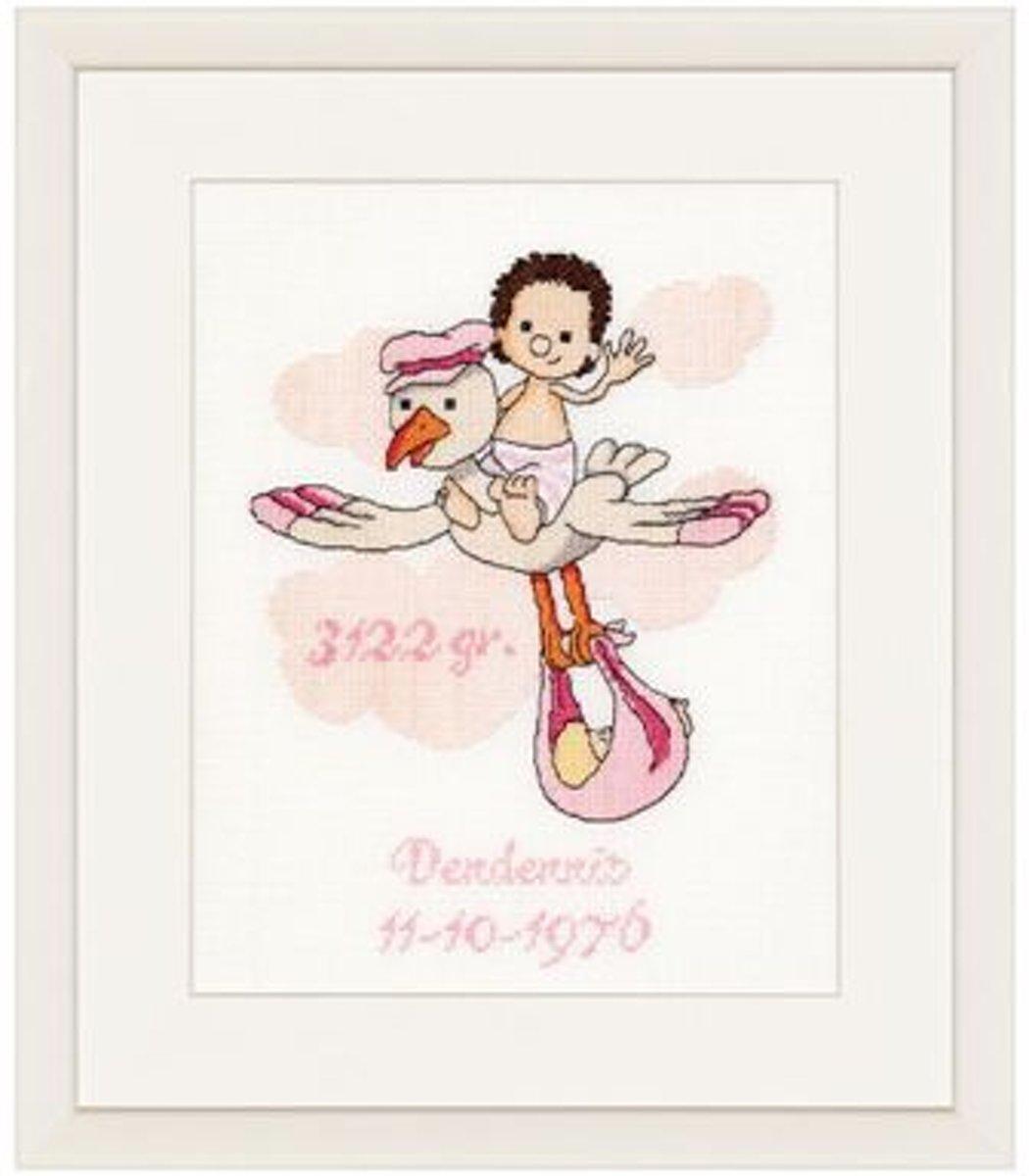 Thea Gouverneur Borduurpakket 753A DenDennis It's a Girl Geboortetegel meisje - Aida stof 100% katoen