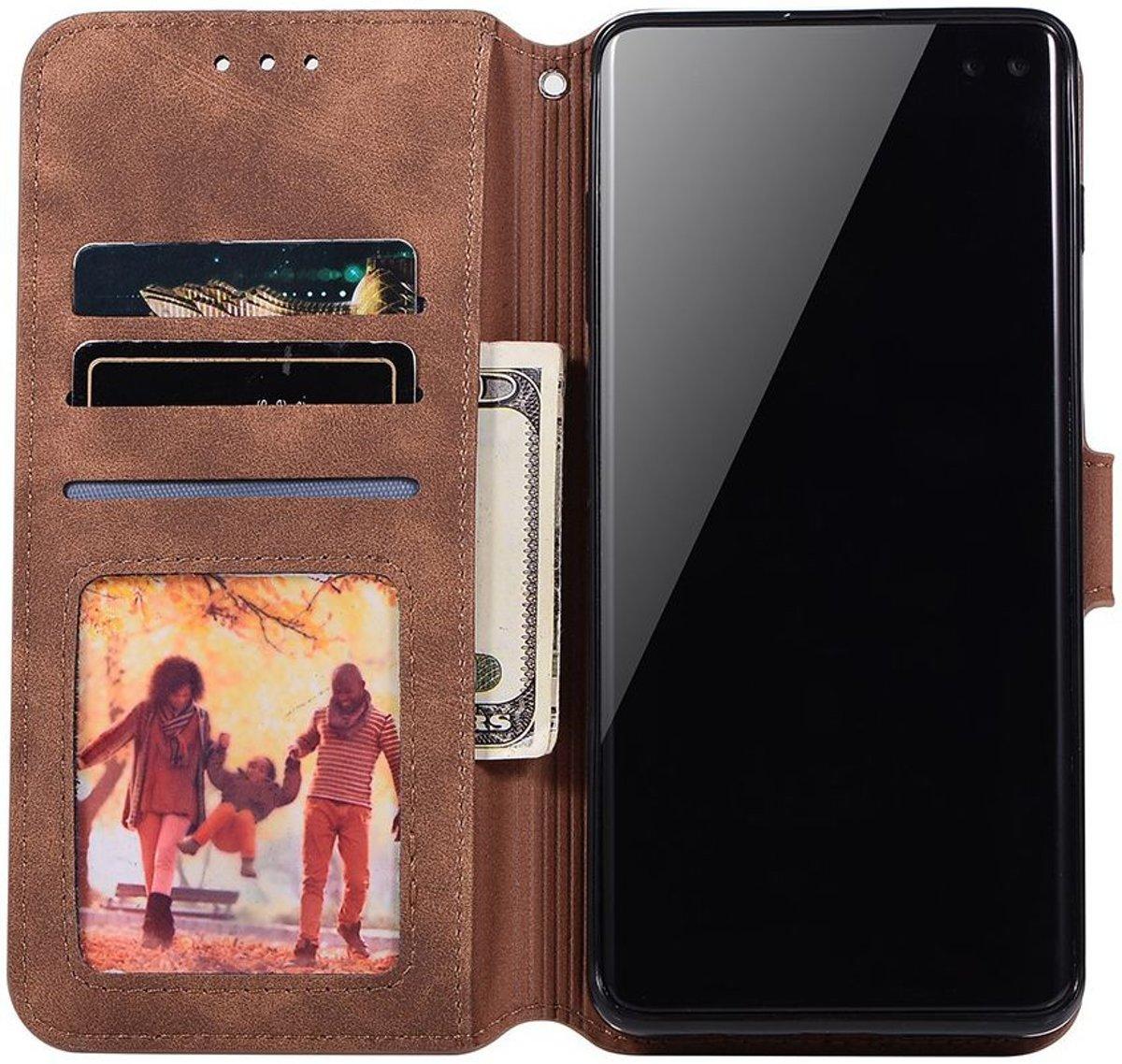 | Samsung Galaxy S10 Retro Portemonnee Hoesje Coffee