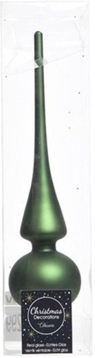 Donkergroen glazen piek mat 26 cm - Donkergroene kerstboom versieringen kopen