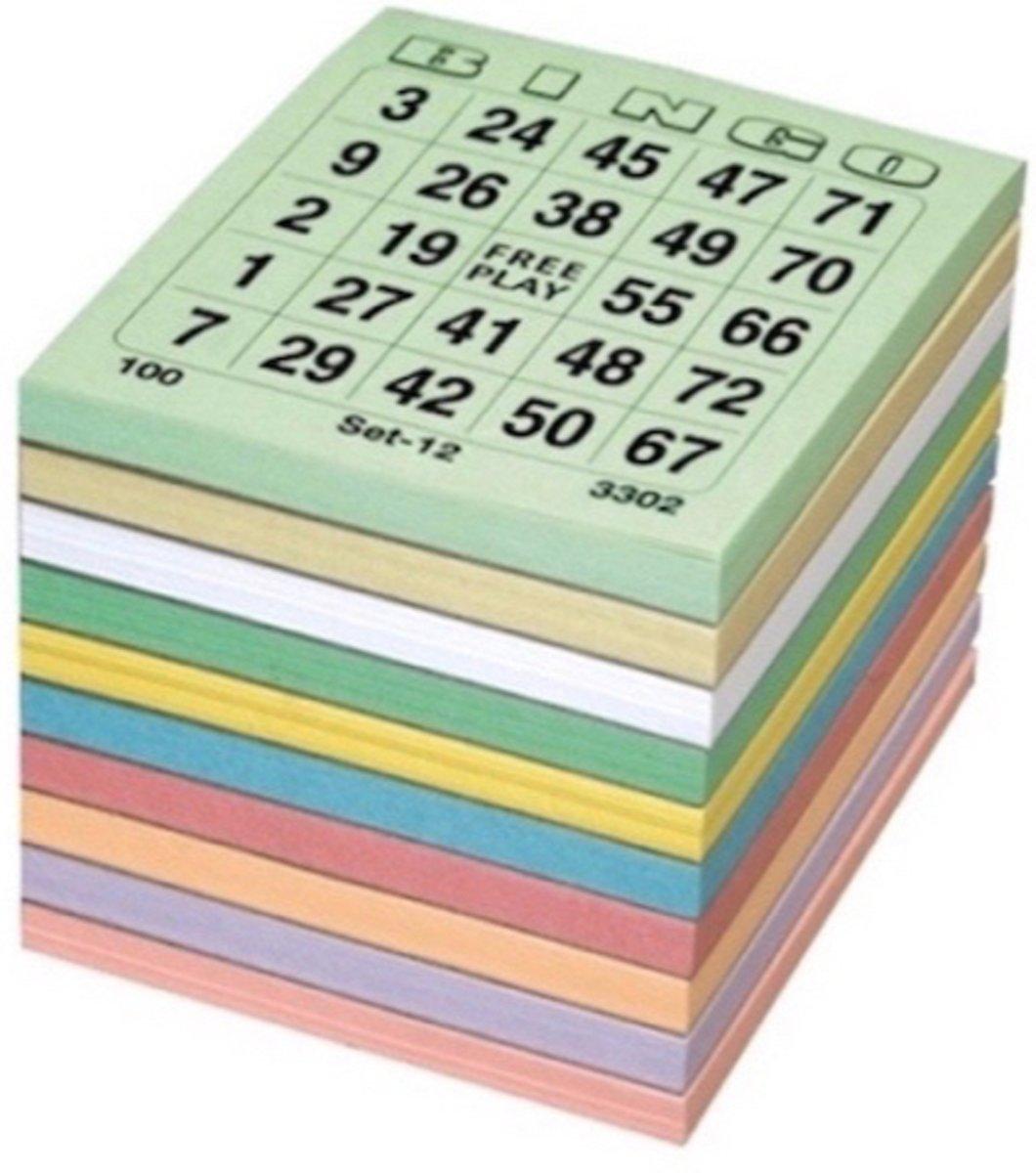Bingokaarten - 1000 stuks - 1 t/m 75 kleurenmix Single