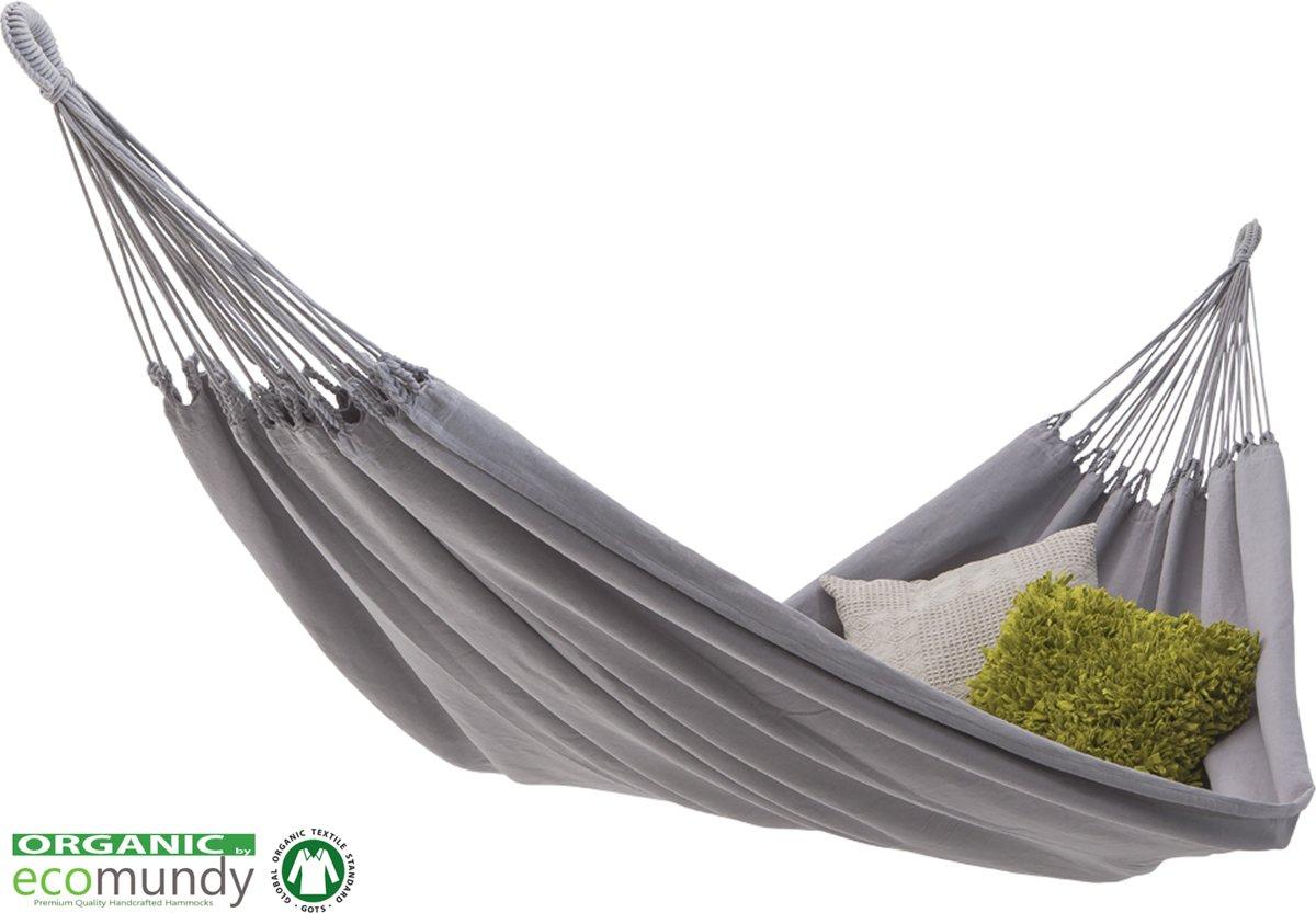 ECOMUNDY PURE BIO XL 360 GRIJS - Luxe 2-persoons hangmat van biologisch katoen - handgeweven - GOTS - 160x240x360cm