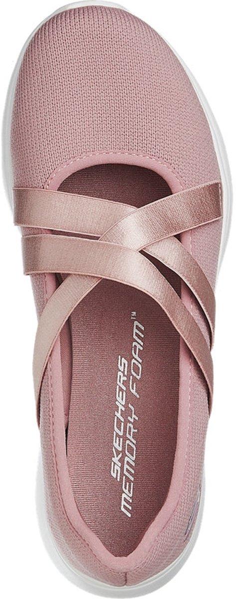 Skechers Dames Roze ballerina kruisbandjes memory foam Maat 40
