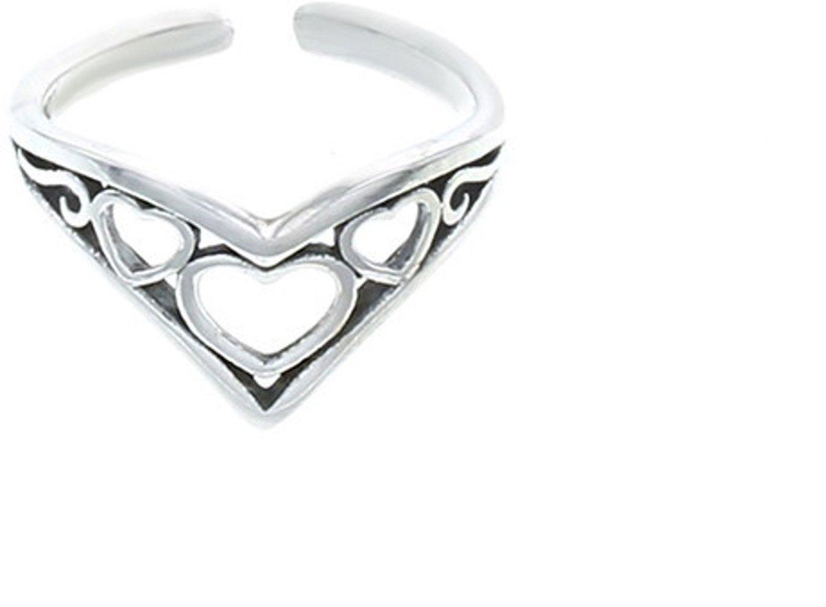 Teenring hearts - 925 zilver kopen