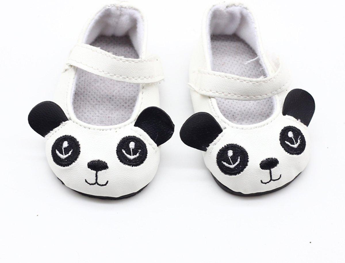 Panda schoentjes voor babypop met een lengte van circa 43 cm zoals Baby Born - Zwart wit schoenen met oogjes en oortjes