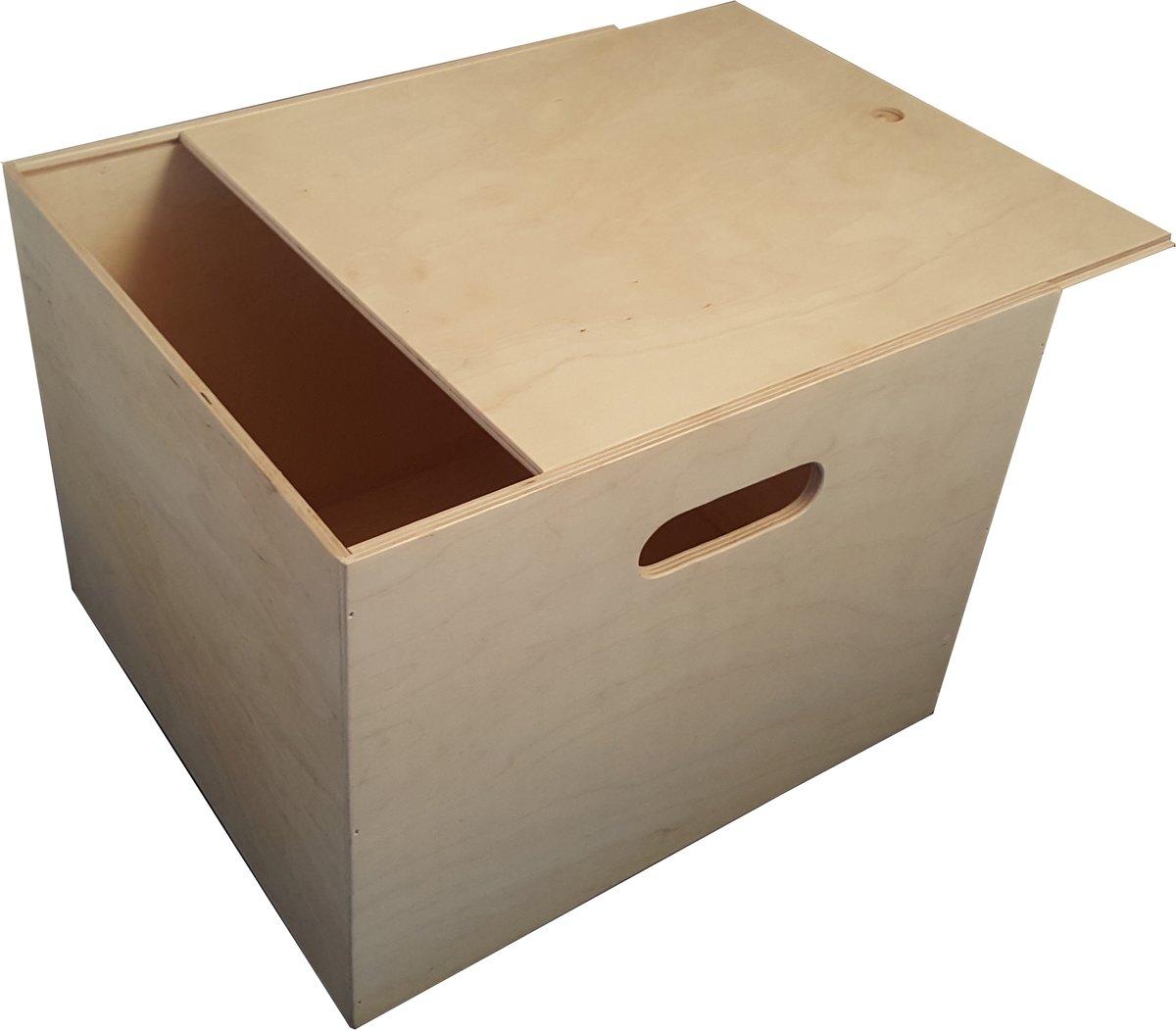 Playwood - Houten opbergkist met schuifdeksel vierkant - Speelgoedkist