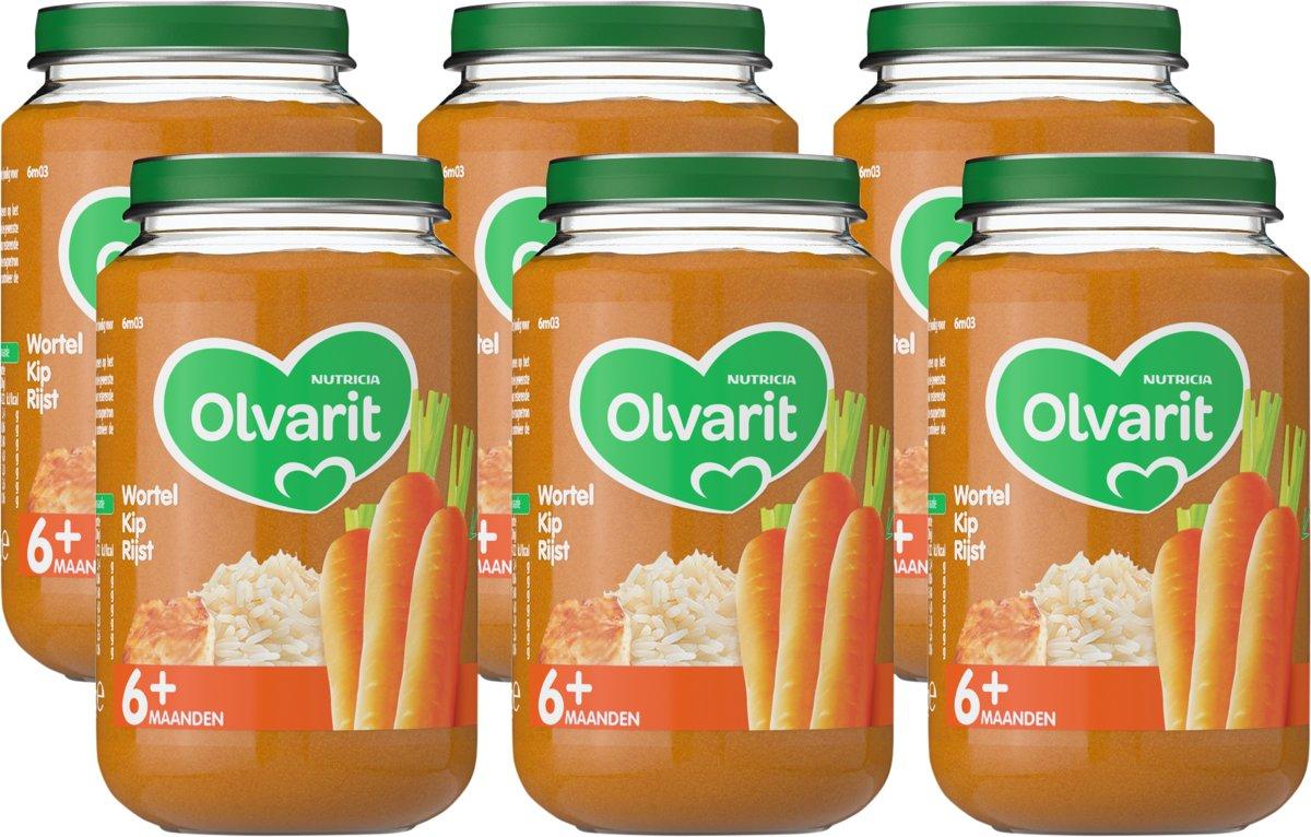 Olvarit 6 maanden Groentehapjes - wortel kip rijst - 6x200 gram kopen