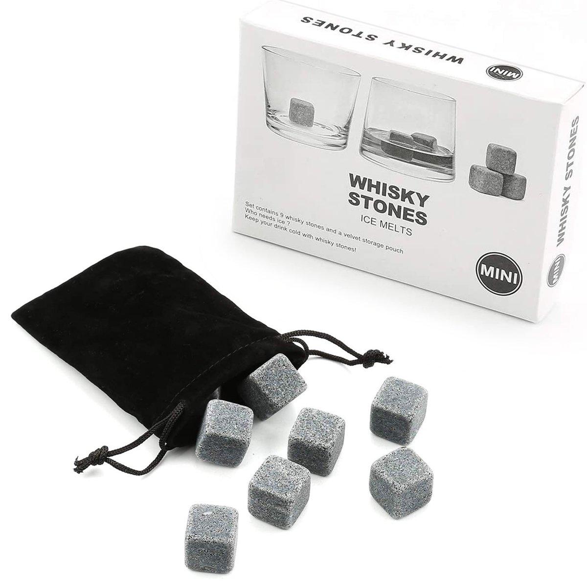 Whiskey stenen - herbruikbare ijsblokjes - whiskeystenen in kistje - antraciet kopen