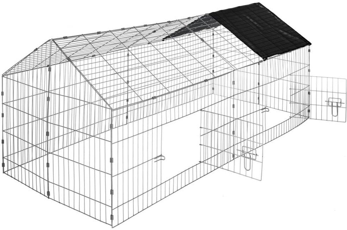 TecTake - Konijnenren konijnenhok met zonnescherm zwart- 402421