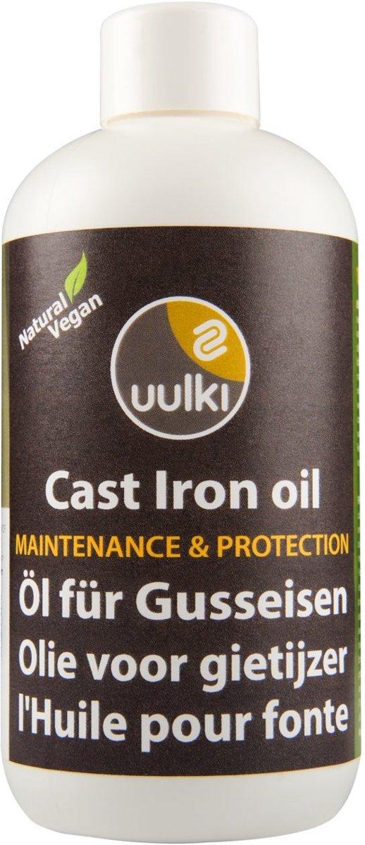 Uulki Gietijzer Olie & Conditioner – 100% Natuurlijke en Plantaardige Olie voor het onderhoud van je Pan, Pot, Wok, Koekenpan, Frituurpan, Dutch Oven, enz. uit Gietijzer (kleurloos, 250ml) kopen